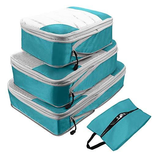 Packtaschen Kompression Ultraleicht, ABC Compression Packing Cubes 4er Set Packwürfel Rucksack Wasserdicht Reiseorganizer Familie Koffer Reisedokumententasche Kofferorganizer kleidertaschen (Blau)