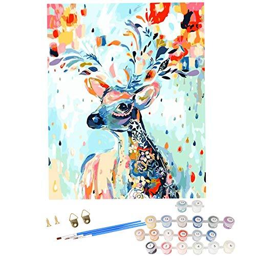 Herefun Malen Nach Zahlen Erwachsene, DIY Handgemal Ölgemälde Kit, 40 x 50 cm Paint by Numbers, DIY Digitale Malerei, DIY Ölgemälde auf Leinwand für Heimdekoration - Ohne Rahmen