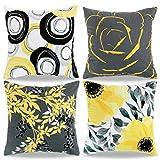AllmarkHomes Fundas De Cojín Funda De Almohada De Terciopelo Cojines Decorativos Para Cama Vintage Cojines Para Dormitorio Gris Amarillo 4 Pack 45x45