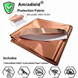 Copper Fabric Blocking RFID/RF-Reduce EMF/EMI Protection Conductive Fabric for Smart Meters Prevent from Radiation/Singal/WiFi Golden Color 39'x43' inch with Free 20' L Conductive Adhesive Tape