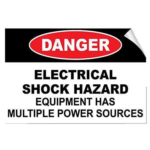 Danger Electrical Shock Hazard Multiple Power Source Label Decal Sticker 7 Inches X 5 Inches