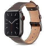 BRG コンパチブル Apple Watch バンド 本革 ビジネススタイル コンパチブル アップルウォッチバンド コンパチブル Apple Watch 6/5/4/3/2/1/SE(38mm/40mm,黒檀/スペースグレー)