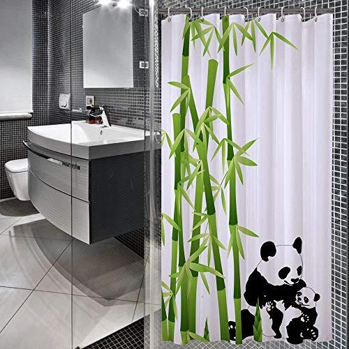 Encozy Duschvorhang, wasserdicht, schimmelresistent, waschbar, mit 6 Haken (Panda, 90 x 180 cm)