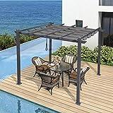 PURPLE LEAF 300cm X 300cm Aluminum Pergola Pavillon mit Schiebedach UV Beschattung für Terrasse Rasen Garten Deck, Grau
