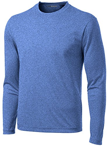 DRI-Equip Long Sleeve Moisture Wicking Athletic Shirt-Large-RoyalHeather