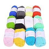 Hilo de algodón de 12 Colores, Hilo de algodón de Leche Hilo de Ganchillo de algodón Suave Hilo de Lana de Tejer para bebés Kit de Inicio