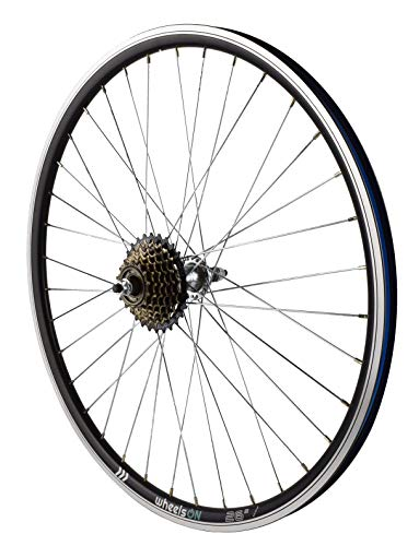 26 inch Rear Wheel + 7 speed Freewheel Hybrid/Mountain Bike Black/Silver Spokes 36H