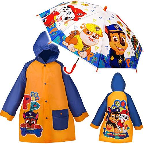 alles-meine.de GmbH 2 TLG. Set: Regenschirm + Regenmantel / Regenjacke - mit Kapuze - Paw Patrol - Hunde - Gr. 110 - 116 - Circa 4 bis 5 Jahre - transparent & durchsichtig - wass..