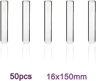 Labvida 50pcs of Borosilicate Glass Test Tubes, Vol.16ml 16x150mm, Round Bottom, LVH001