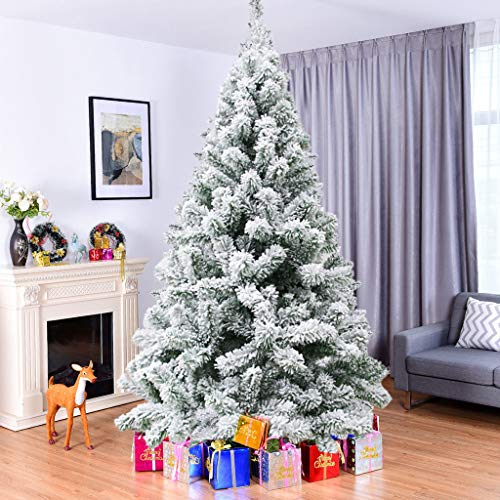 Cagogo 7.5-Foot Premium Snow Flocked Hinged Artificial Pine Christmas Tree Holiday Decor with Foldable Metal Stand