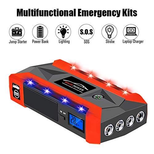 DingLong Auto Starthilfe Tragbarer Powerbank, Auto Akku Booster Jump-Pack, 20000mAh Starthilfegeräte 12V Autobatterie Anlasser mit 4 USB Ports LCD Bildschirm und Taschenlampe