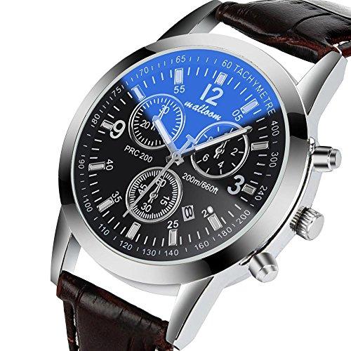 Relojes deportivos para hombre, KanLin1986 Relojes de pulsera analógicos para hombre con correa de cuero sintético (B)