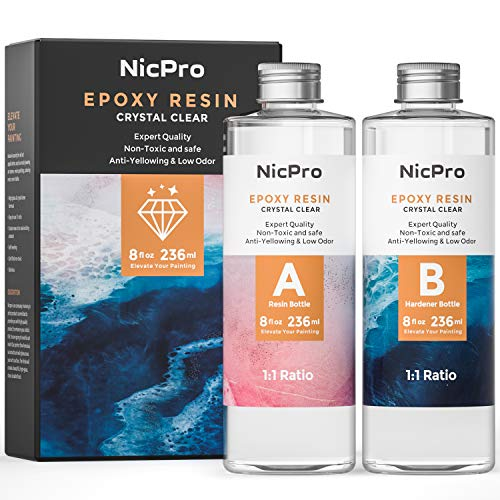 Nicpro 2 Part Art Epoxy Resin 16 Oz. Starter Clear Coating and Casting Resin for Resin Molds Pigment...
