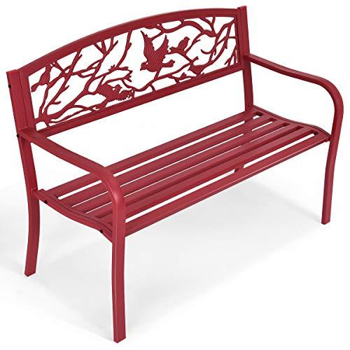 GYMAX Gartenbank aus Stahl & Gusseisen, Sitzbank mit Armlehnen & Rückenlehne, robuste & wetterfeste Ruhebank, belastbar bis 280 kg, 123 x 60 x 88 cm, für Garten, Balkon, Terrasse, Rot
