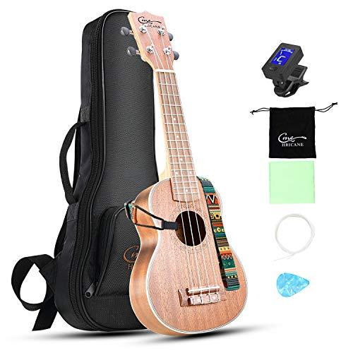 Hricane Ukelele 21 pulgadas de Soprano, guitarra hawaiana, incluye funda