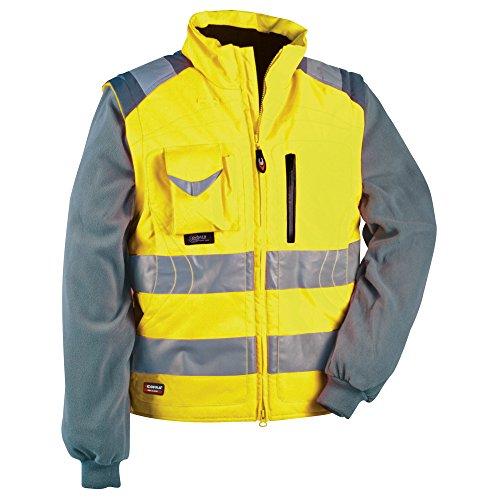 Cofra Signal - Giacca e gilet ad alta visibilità, 2 in 1, colore: giallo fluorescente