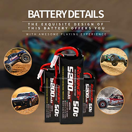 RoaringTop 7.4V 50C 5200mAh 2S RC Lipo Battery with Deans Connector/T Plug for RC Car Truck Truggy Boat (2 Packs)