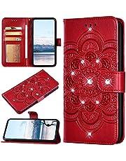 URFEDA Funda Compatible con Huawei Nova 7 Billetera Carcasa,3D Flor de Mandala Impreso Libro,Cartera,Ranura para Tarjeta,Soporte Plegable, Cierre Magnético Folio Flip Cover,Rojo