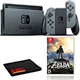 Nintendo Switch (Gray) Bundle with Zelda: Breath of the Wild + 6Ave Cloth