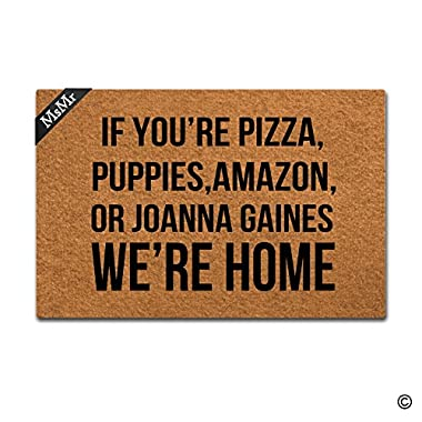 MsMr Doormat Entrance Mat Funny Doormat Home Office Decorative Door Mat Indoor/Outdoor Rubber 23.6 X15.7  - If You're Pizza,Puppies,Amazon, Or Joanna Gaines We're Home