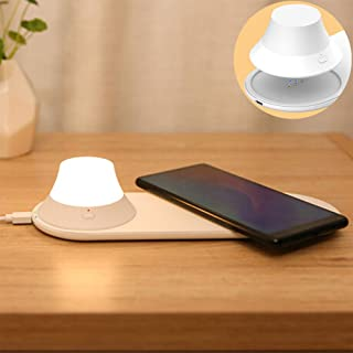 Wireless Charger, Night Light with Warm Eye Color Temperature for iPhone 11, 11 Pro, 11 Pro Max, XR, Xs Max, XS, X,8, 8 Plus, 10W Fast-Charging Galaxy S10 S9 S8, Note10 and More (No AC Adapter)