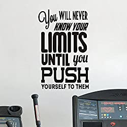 FlyWallD Gym Room Wall Decal Inspirational Workout Motivation Sports Quotes You Will Never Know Your Limits Office Lettering Vinyl Sayings Decor
