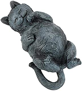 Design Toscano Playful Cat on Back Statue, Gray Stone