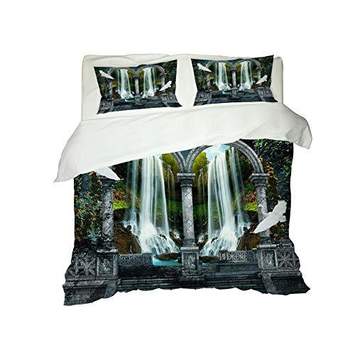 CJZYY 3D Duvet Cover Waterfall landscape Printed Bedding Duvet Cover with Zipper Closure,3 Pieces (1 Duvet Cover +2 Pillowcases) Ultra Soft Microfiber Bedding -Super King 220 X 260 cm