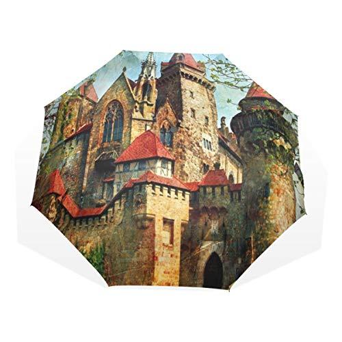 LASINSU Paraguas Resistente a la Intemperie,protección UV,Castillo austríaco Cuento de Hadas Medie