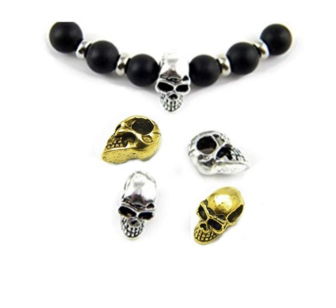 PlanetZia 10pcs 12mm Detailed Metal Skull Beads 12x10mm USA Made for Jewelry Making TVT-RZ65-N (Antique Gold)