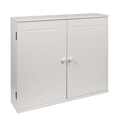 Delicieux Woodluv MDF White Double Wall Cabinet Cupboard Storage Unit, 50 X 60 X 15cm,