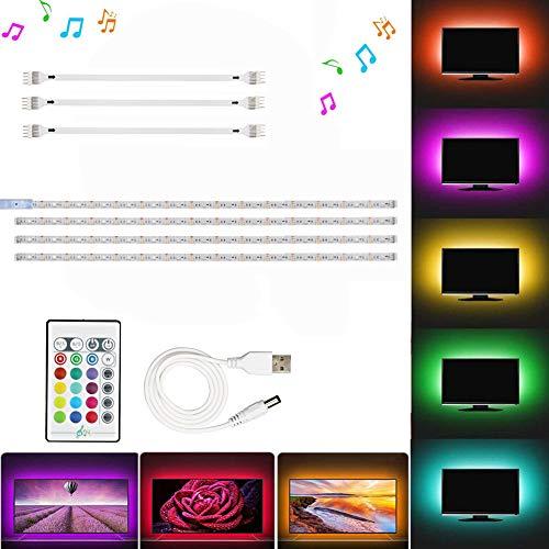 JOYLIT LED TV Hintergrundbeleuchtung, Musik Sync RGB 2M USB Bias Beleuchtung für 40 bis 60 Zoll HDTV, TV-Bildschirm und PC-Monitor (4pcs x 50cm)