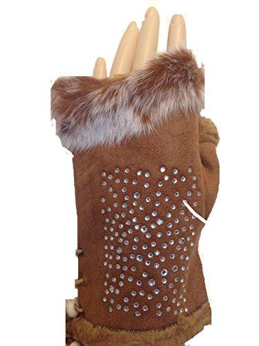Pamper Yourself Now Braun Kunstpelzbesatz fingerlose Handschuhe mit Glanz. Schönen Geschenk. (Brown faux fur trimmed fingerless gloves with sparkle. Lovely gift)