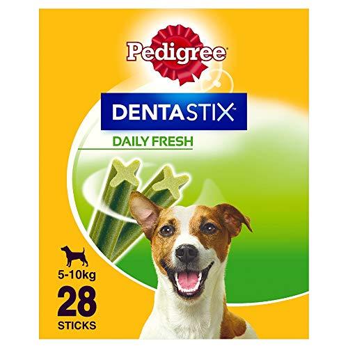 Pedigree Hundesnacks Hundeleckerli Dentastix Fresh für frischen Atem Mini Tägliche Zahnpflege für kleine Hunde <10kg, 28 Sticks (1 x 28 Sticks)