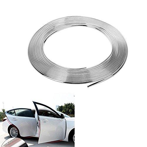 Tira de moldura para coche en forma de U, color cromado, 6 mm (0,6 cm) x 15 m