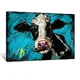 Kreative Arts - Modern Blue Cow Canvas...