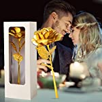 jobosi rice white box golden 24k gold rose flower unique gifts for women galaxy,gift for her/wife/mom/girlfriend/girl in valentines day, mothers day, anniversary, wedding, birthday