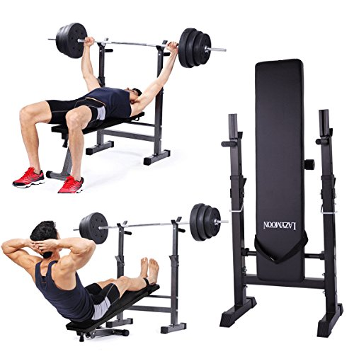 JAXPETY Adjustable Folding Weight Lifting Flat Incline Bench Fitness Workout Bench for Full Body Exercise New, Black