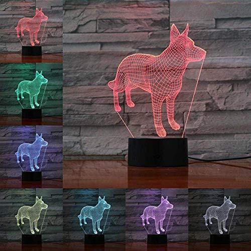 Luz de noche pequeña lindo cachorro regulable 3D LED lámpara de luz de noche pequeña patrón animal lámpara de mesa USB bebé niño regalo de Navidad sala de estar
