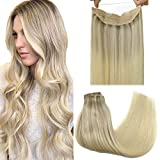 GOO GOO Halo Hair Extensions Ombre Ash Blonde to Golden Blonde Mixed Platinum Blonde 16 Inch 95g Remy Human Hair Extensions Hairpiece Hidden Crown Wire Hair Extensions with Fish Line Straight