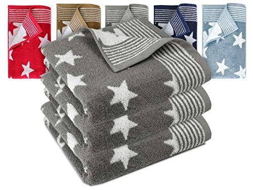Dyckhoff Frottierserie aus dem Hause 3er-Pack Handtücher oder EIN Duschtuch - Elegantes Streifendesign kombiniert mit Sternen - geprüfte Qualität, 3er Pack Handtücher [50 x 100 cm], grau