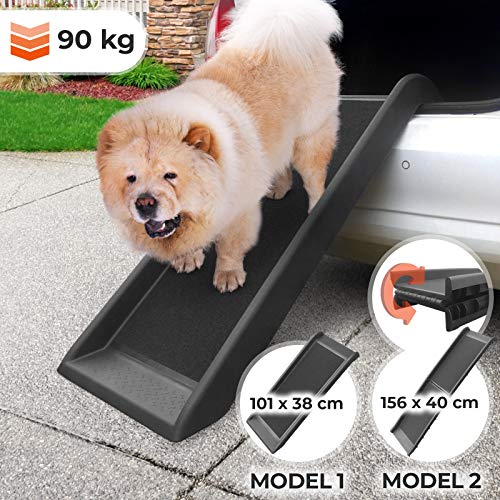 Hunderampe - rutschfest, Leicht, Stabil, Max 90 kg, Kunststoff, Schwarz (Größenwahl) - Kofferraum, Sofa, Bett Einstiegshilfe für Haustier