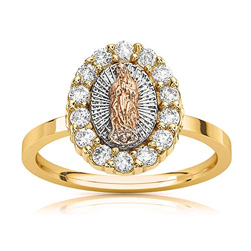 Savlano 18K Gold Plated White Yellow & Rose Three Color Lady of Guadalupe Virgin Mary With Round Cut Cubic Zirconia Women's Girl's Religious Ring (8)