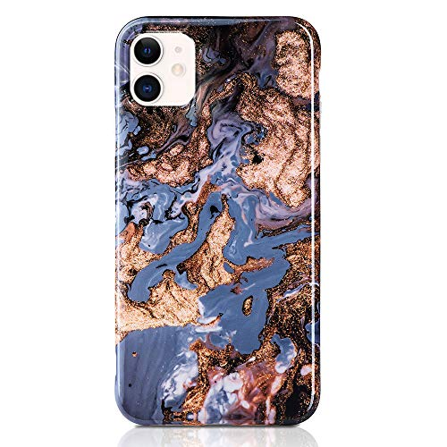 QULT Handyhülle kompatibel mit iPhone 12 Mini Hülle Marmor blau Gold dünn Silikon Schutzhülle TPU Bumper Hülle für iPhone 12 Mini Glanz Marble Blue