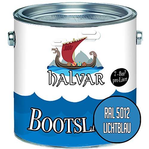 Halvar Bootslack Blau RAL 5000-5024 Yachtlack MATT Bootsfarbe PU-verstärkt für Holz & Metall verstärkt extrem belastbar hochelastisch Schiffslackierung (1 L, RAL 5012 Lichtblau)