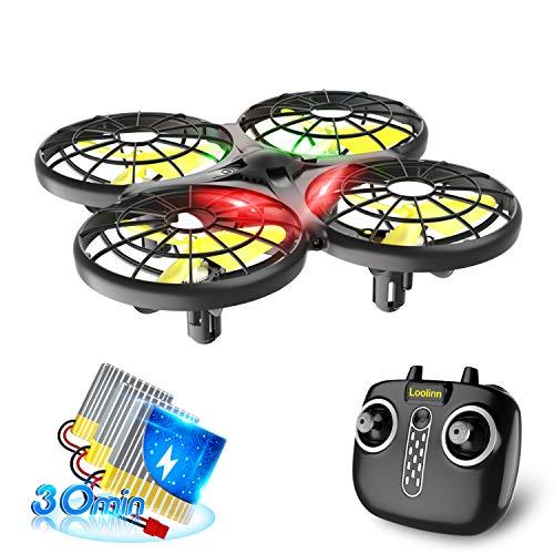 Loolinn   Drohne Kinder - Mini Drohne, RC Quadrocopter mit Antikollisionstechnologie / 360° Flips / Handgesteuerter Modus / 30 Minuten Flugzeit ( DREI Batterien Geliefert )