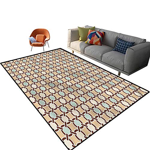 Indoor Room Abstract Area Rugs,5'x 7',Floral Motif Chain Mesh Floor Rectangle Rug with Non Slip Backing for Entryway Living Room Bedroom Kids Nursery Sofa Home Decor
