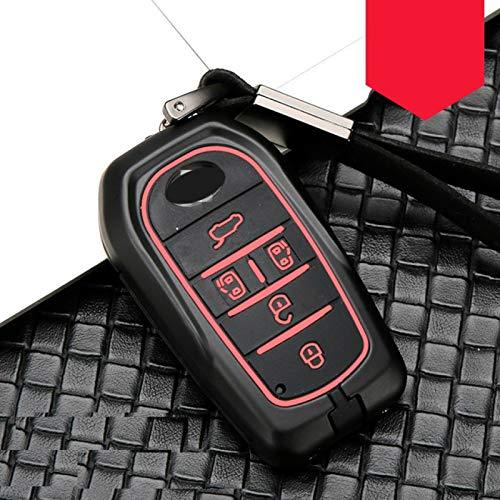 QYV para aleación de Fibra de Carbono + Funda de Silicona para Llave Inteligente de Coche para Toyota Alphard/vellfire Grandmaster Previa (15 19) Funda para Llave   Funda para,5 botón Negro Rojo