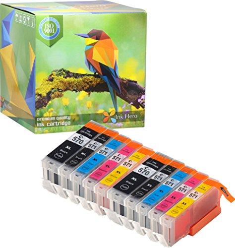Ink Hero – Cartucho de tinta refabricado para usar en lugar de Canon 571XL, 570XL (Pigmento negro, Negro, Cian, Magenta, Amarillo, pack de 10)