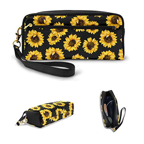 AHOOCUSTOM Cute Sunflowers Pencil Case for Teens Girls Women, School Stationery Accessory Kids Boys Zipper Pouch, Office Organizer Soft Travel Toiletry Gold Stand up Makeup Bag Portable Stuff